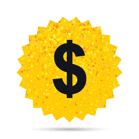 Gold glitter web button. Dollars sign icon. USD currency symbol. Money label. Rich glamour star design. Vector Illustration