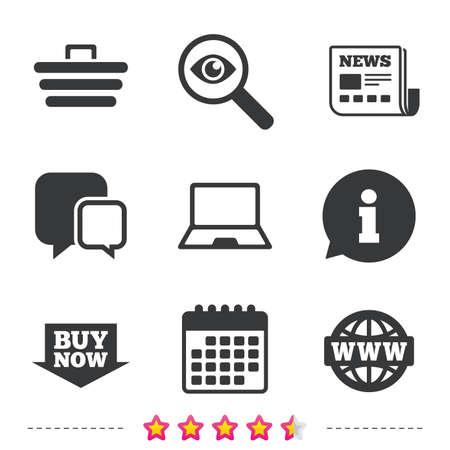 オンライン ショッピングのアイコン。ノート pc、ショッピングカート、今矢印とインターネットの兆候を購入します。WWW 世界のシンボルです。新聞