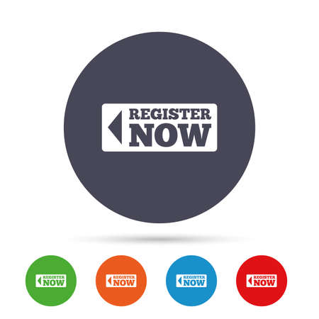 Register now sign icon. Join button symbol. Round colourful buttons with flat icons. Vector