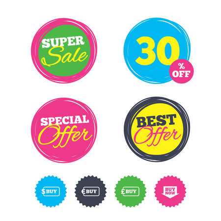 Super sale and best offer stickers. Buy now arrow icon. Online shopping signs. Dollar, euro and pound money currency symbols. Shopping labels. Vector