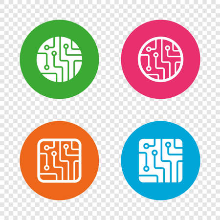 Circuit board icons. Technology scheme circles and squares sign symbols. Round buttons on transparent background. Vector Illustration
