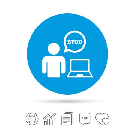 BYOD 記号アイコン。独自のデバイスのシンボルをもたらします。ノート パソコンと音声のバブルを持つユーザー。ファイルのコピー、音声バブルと