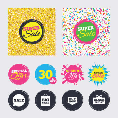 Gold glitter and confetti backgrounds. Covers, posters and flyers design. Sale speech bubble icons. Buy now arrow symbols. Black friday gift box signs. Big sale shopping bag. Sale banners. Vector