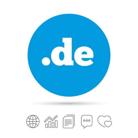 Domain DE sign icon. Top-level internet domain symbol. Copy files, chat speech bubble and chart web icons. Vector Illustration