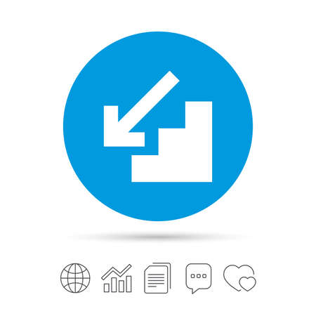 Downstairs icon. Down arrow sign. Copy files, chat speech bubble and chart web icons. Vector