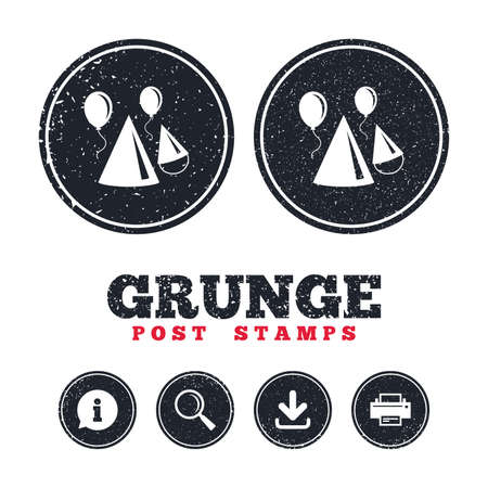 streamers: Grunge post stamps. Party hat sign icon. Birthday celebration symbol. Air balloon with rope. Information, download and printer signs. Aged texture web buttons. Vector