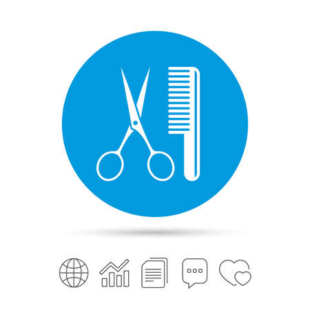Comb hair with scissors sign icon. Barber symbol. Copy files, chat speech bubble and chart web icons. Vector Illustration