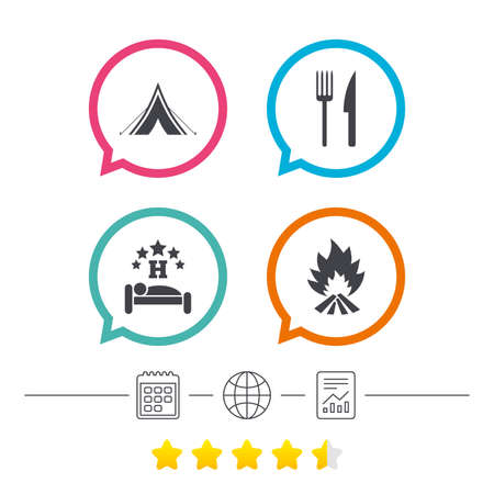 Food, sleep, camping tent and fire icons. Knife and fork. Hotel or bed and breakfast. Road signs. Calendar, internet globe and report linear icons. Star vote ranking. Vector 向量圖像