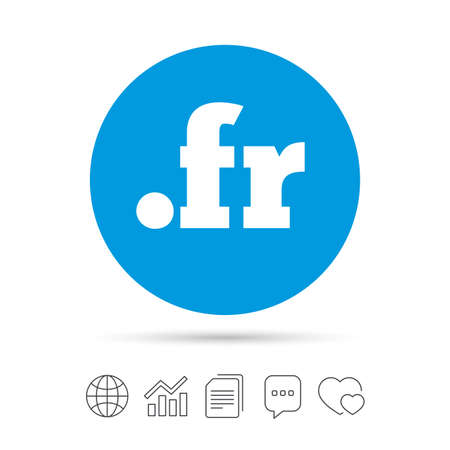 Domain FR sign icon. Top-level internet domain symbol. Copy files, chat speech bubble and chart web icons. Vector