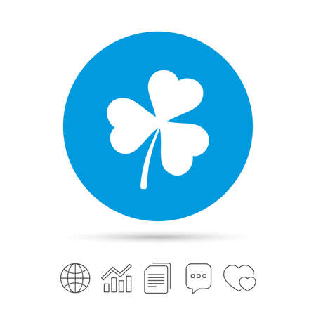 Clover with three leaves sign icon. Trifoliate clover. Saint Patrick trefoil symbol. Copy files, chat speech bubble and chart web icons. Vector