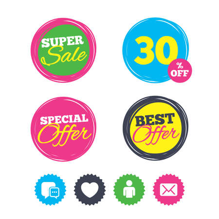 Super sale and best offer stickers. Social media icons. Chat speech bubble and Mail messages symbols. Love heart sign. Human person profile. Shopping labels. Vector