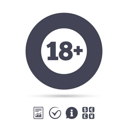 18 plus years old sign. Adults content icon. Report document, information and check tick icons. Currency exchange. Vector