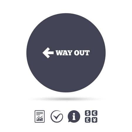 左の方法記号アイコンです。矢印記号。ドキュメント、情報をレポートし、目盛りのアイコンをチェックします。外貨両替。ベクトル  イラスト・ベクター素材