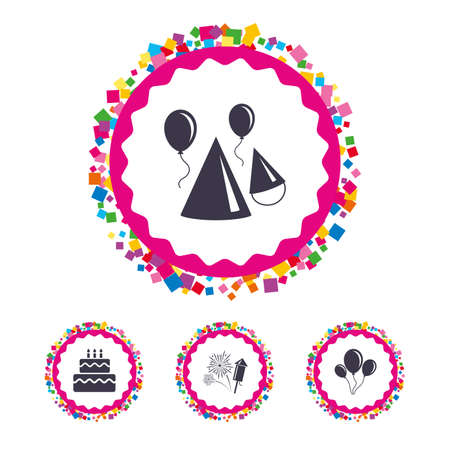 Web buttons with confetti pieces. Birthday party icons. Cake, balloon, hat and muffin signs. Fireworks with rocket symbol. Double decker with candle. Bright stylish design. Vector