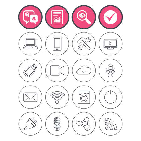 Question and answer, check tick and report signs. Devices and technologies icons. Notebook, smartphone and wi-fi symbols. Usb flash, video camera, microphone thin outline signs. Vector Illustration
