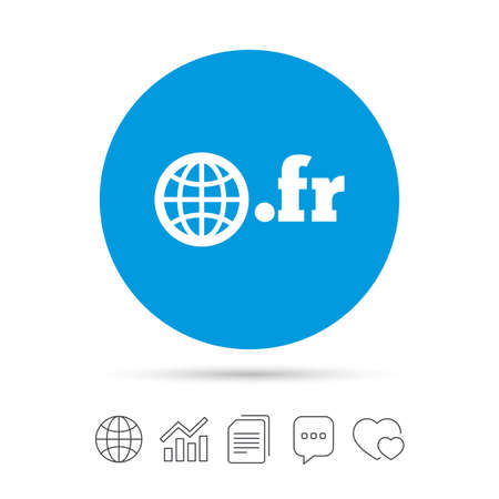 Domain FR sign icon. Top-level internet domain symbol with globe. Copy files, chat speech bubble and chart web icons. Vector Stock Vector - 79235006