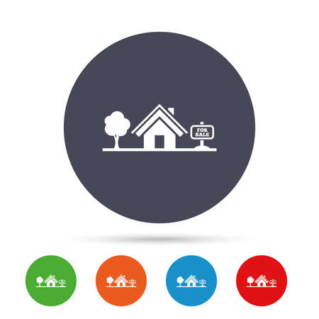 Home sign icon. House for sale. Broker symbol. Round colourful buttons with flat icons. Vector