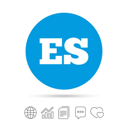 Spaanse taal teken pictogram. ES-vertaalsymbool. Kopieer bestanden, praat tekstballonnen en grafiek web iconen. Vector Stock Illustratie