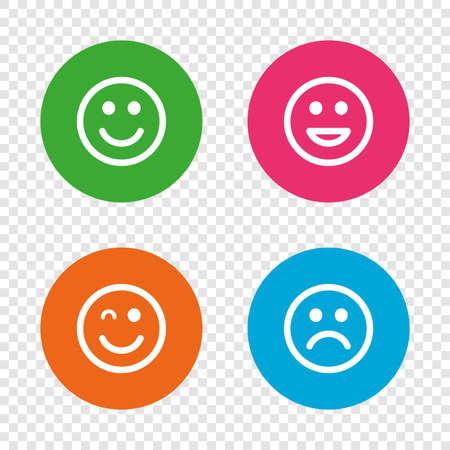 笑顔のアイコン。幸せな、悲しいとウインク顔記号。笑スマイリー サインを笑っています。透明の背景上の丸いボタン。ベクトル