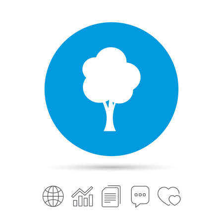 Tree sign icon. Forest symbol. Copy files, chat speech bubble and chart web icons. Vector Illustration