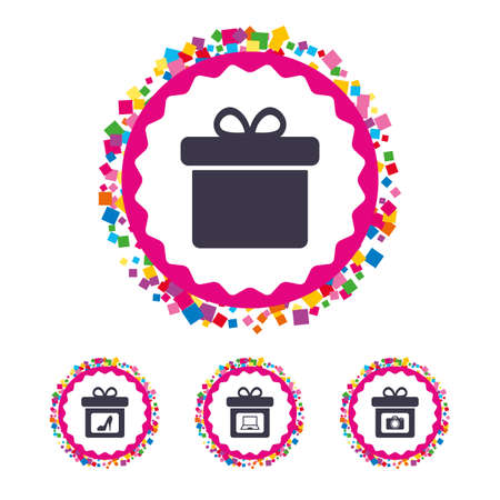 Web buttons with confetti pieces. Gift box sign icons. Present with bow symbols. Photo camera sign. Woman shoes. Bright stylish design. Vector