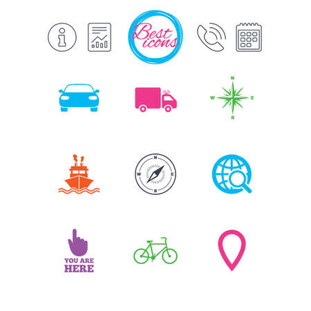 Information, report and calendar signs. Navigation, gps icons. Windrose, compass and map pointer signs. Bicycle, ship and car symbols. Classic simple flat web icons. Vector