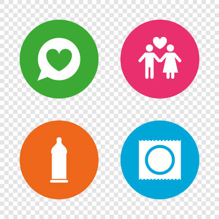Condom safe sex icons. Lovers couple signs. Male love female. Speech bubble with heart. Round buttons on transparent background. Vector