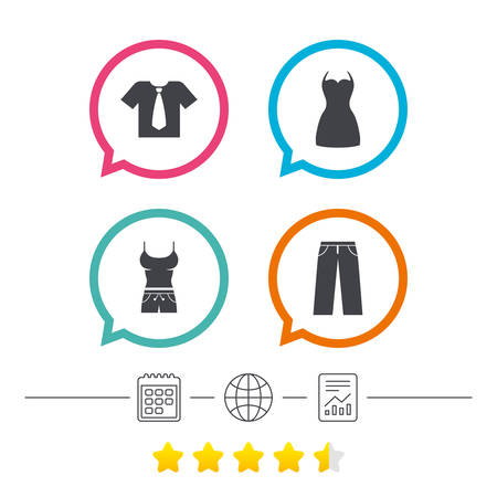 Clothes icons. T-shirt with business tie and pants signs. Women dress symbol. Calendar, internet globe and report linear icons. Star vote ranking. Vector Illustration