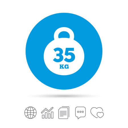 Weight sign icon. 35 kilogram (kg). Sport symbol. Fitness. Copy files, chat speech bubble and chart web icons. Vector