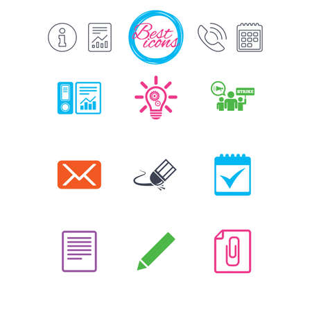 Information, report and calendar signs. Office, documents and business icons. Accounting, strike and calendar signs. Mail, ideas and statistics symbols. Classic simple flat web icons. Vector