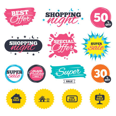 Sale shopping banners. Special offer splash. For sale icons. Real estate selling signs. Home house symbol. Web badges and stickers. Best offer. Vector Illustration