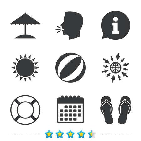 Strand Urlaub Symbole. Ball, Regenschirm und Flip-Flops Sandalen Zeichen. Lifebuoy-Symbol. Informationen, gehen Sie zu Web- und Kalender-Icons. Sonne und lautes Sprachsymbol. Vektor Standard-Bild - 79196170