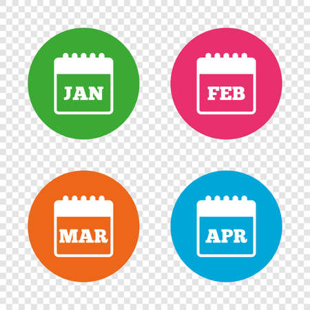 event planning: Calendar icons. January, February, March and April month symbols. Date or event reminder sign. Round buttons on transparent background. Vector