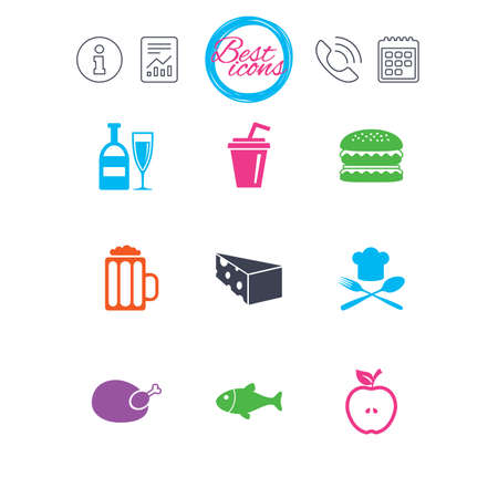 Information, report and calendar signs. Food, drink icons. Beer, fish and burger signs. Chicken, cheese and apple symbols. Classic simple flat web icons. Vector