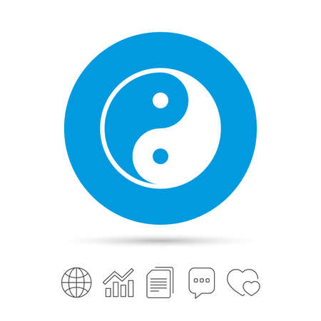 daoism: Ying yang sign icon. Harmony and balance symbol. Copy files, chat speech bubble and chart web icons. Vector Illustration