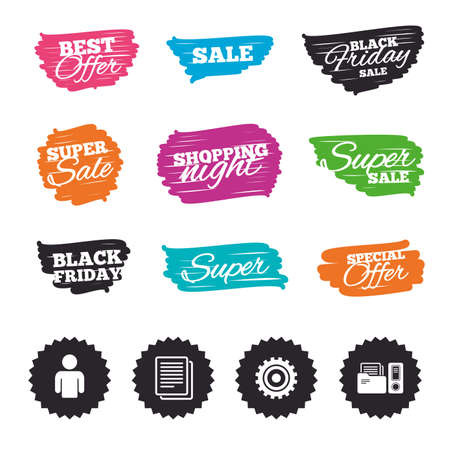 Ink brush sale banners and stripes. Accounting workflow icons. Human silhouette, cogwheel gear and documents folders signs symbols. Special offer. Ink stroke. Vector