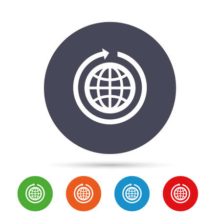 Globe sign icon. Round the world arrow symbol. Full rotation. Round colourful buttons with flat icons. Vector