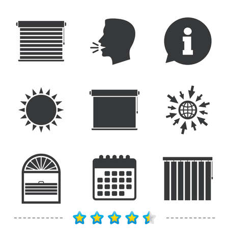 Louvers icons. Plisse, rolls, vertical and horizontal. Window blinds or jalousie symbols. Information, go to web and calendar icons. Sun and loud speak symbol. Vector Illustration