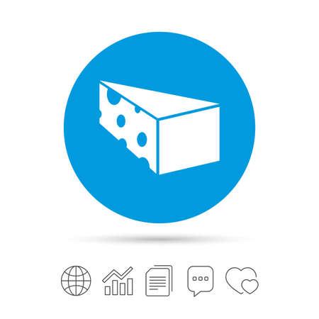チーズ記号アイコン。チーズ シンボルのスライス。三角チーズの穴あき。ファイルのコピー、音声バブルとグラフ web アイコンをチャットします。
