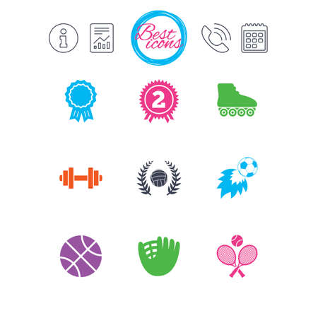 Information, report and calendar signs. Sport games, fitness icons. Football, basketball and volleyball signs. Dumbbell, baseball and winner award symbols. Classic simple flat web icons. Vector