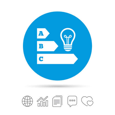 Energy efficiency sign icon. Idea lamp bulb symbol. Copy files, chat speech bubble and chart web icons. Vector