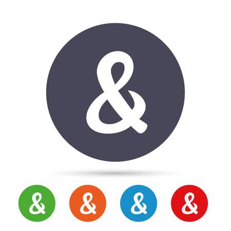 アンパサンド記号のアイコン。論理演算子の AND 結婚式招待状のシンボルをプログラミングします。フラット アイコンと丸いカラフルなボタン。ベ
