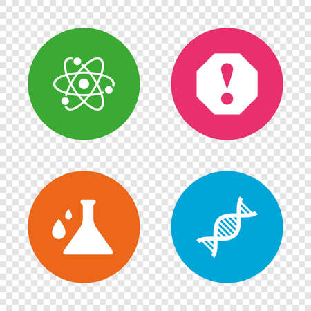 Attention and DNA icons. Chemistry flask sign. Atom symbol. Round buttons on transparent background. Vector