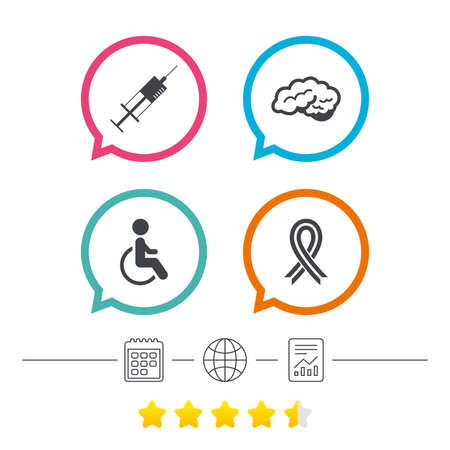 Medicine icons. Syringe, disabled, brain and ribbon signs. Breast cancer awareness symbol. Handicapped invalid. Calendar, internet globe and report linear icons. Star vote ranking. Vector Illustration