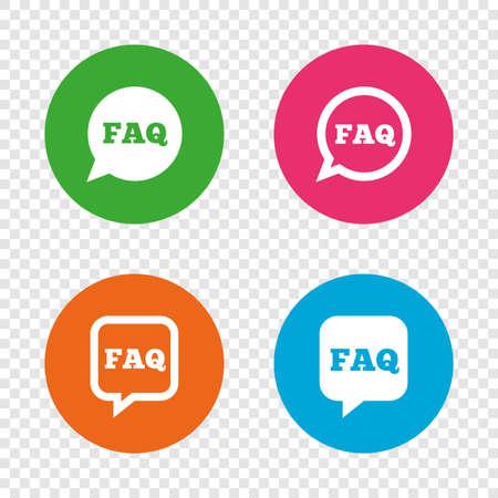 よくあるご質問情報アイコン。スピーチの泡のシンボルを助けます。円および正方形の兆候を話します。透明の背景上の丸いボタン。ベクトル