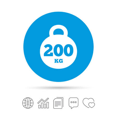 Weight sign icon. 200 kilogram (kg). Sport symbol. Fitness. Copy files, chat speech bubble and chart web icons. Vector