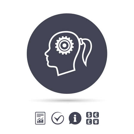 Head with gear sign icon. Female woman human head think symbol. Report document, information and check tick icons. Currency exchange. Vector