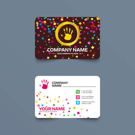 Business card template with confetti pieces. Hand print sign icon. Stop symbol. Phone, web and location icons. Visiting card  Vector