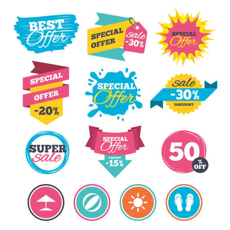 sign: Sale banners, online web shopping. Beach holidays icons. Ball, umbrella and flip-flops sandals signs. Summer sun symbol. Website badges. Best offer. Vector