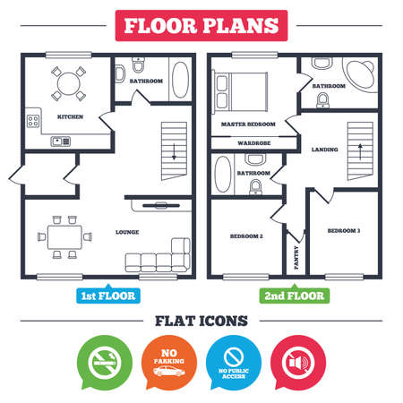 Architecture plan with furniture. House floor plan. Stop smoking and no sound signs. Private territory parking or public access. Cigarette symbol. Speaker volume. Kitchen, lounge and bathroom. Vector Illustration